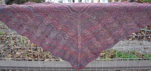 Handspun shawl unblocked 1