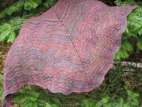Handspun shawl unblocked 2