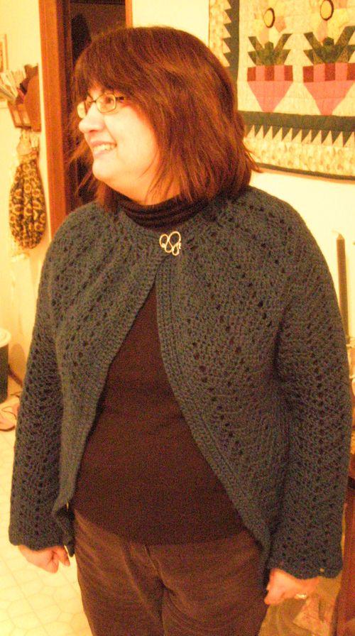 Crochet chevron cardi FO wearing