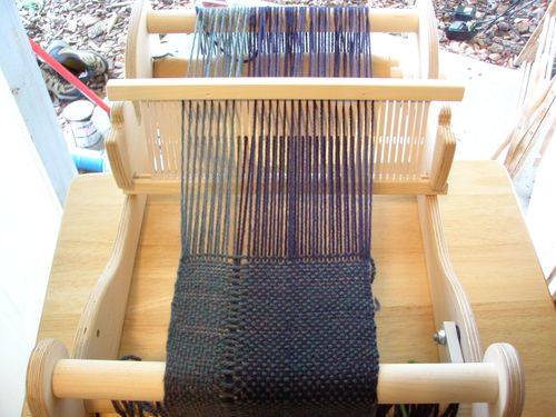 First weaving on the loom