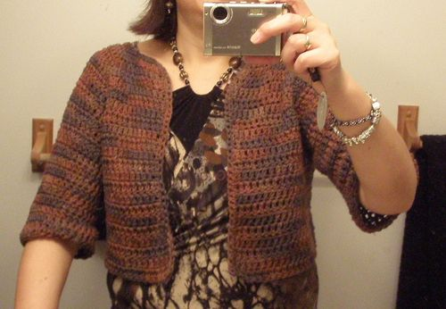 Brown shrug worn 2